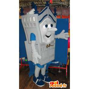 Mascot character and castle gray card any size - MASFR001430 - Mascots of objects