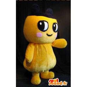 Yellow plush mascot character with pink cheek