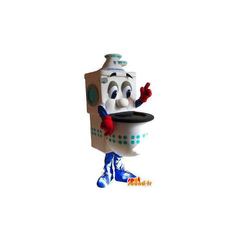 Mascot toilet bowl with red gloves - MASFR001434 - Mascots of objects