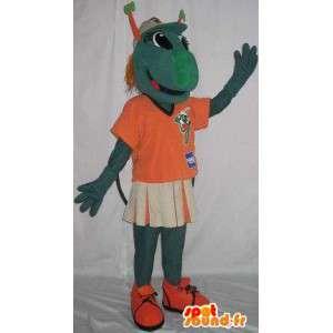 Mascot mantis verde que lleva una camiseta