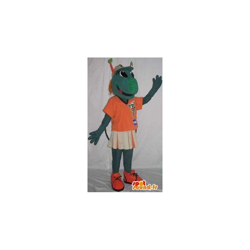 Mascotte de mante réligieuse de couleur verte vêtu d'un tee-shirt - MASFR001491 - Mascottes Insecte