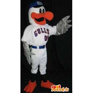 Mascote pato faturado e nadadeiras vermelhas - MASFR001492 - patos mascote