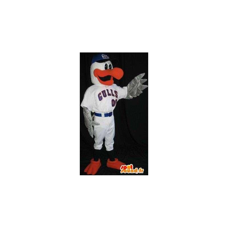 Billed eend mascotte en rode vinnen - MASFR001492 - Mascot eenden