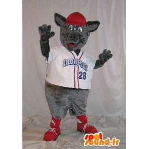 Mascotte de rat vêtu d'un t-shirt à col en 'V' blan