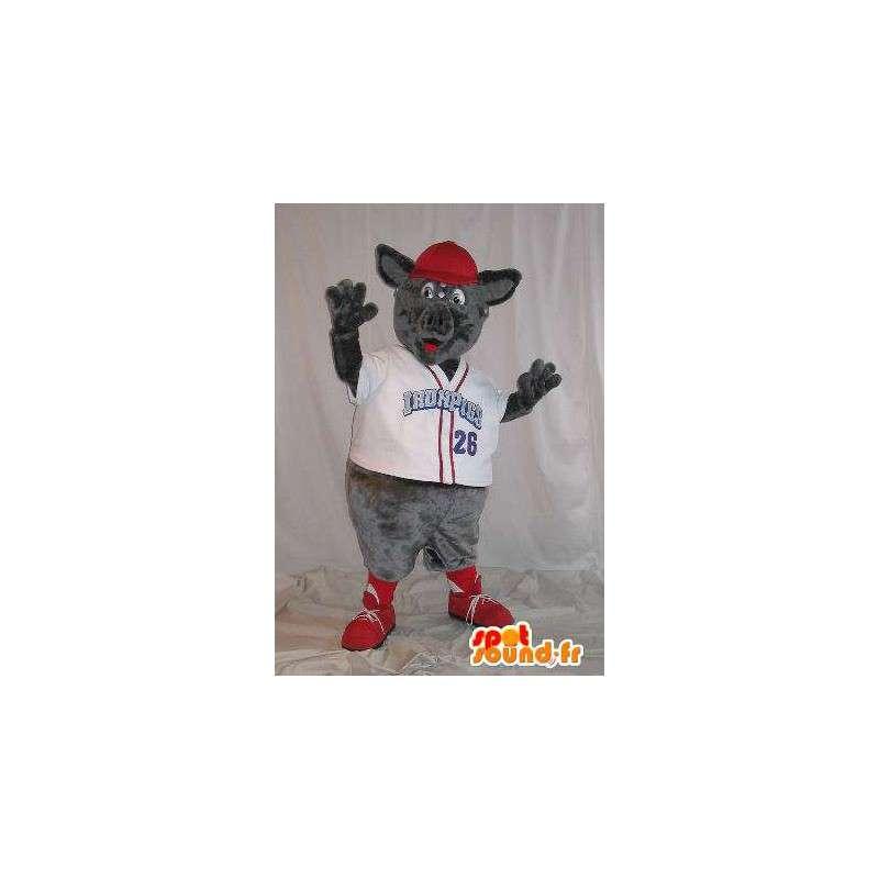 Mascotte de rat vêtu d'un t-shirt à col en 'V' blan - MASFR001496 - Mascottes Animaux domestiques