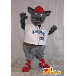 Maskottchen Ratte trägt ein Hemd Kragen 'V' blan - MASFR001496 - Haustiere Haustiere