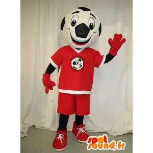 Mascotte à tête en forme de ballon de football habillé