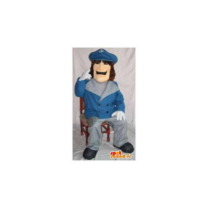 青いジャケットシールドを身に着けているマスコットの警官 - MASFR001499 - マンマスコット
