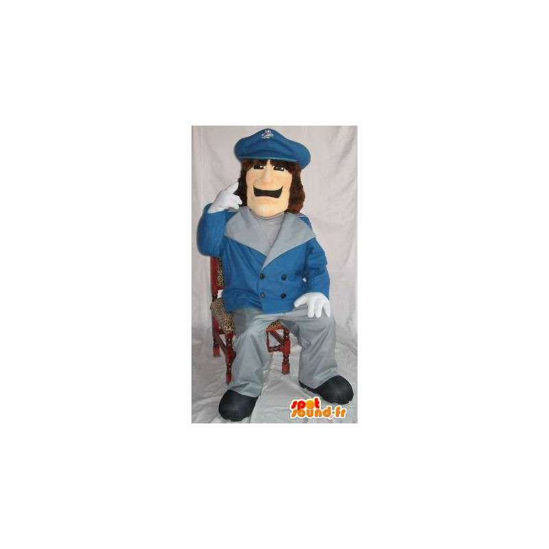 Mascot policeman wearing a blue jacket crest - MASFR001499 - Human mascots