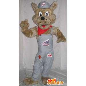 Fox Mascot med grå kjeledress - alle størrelser