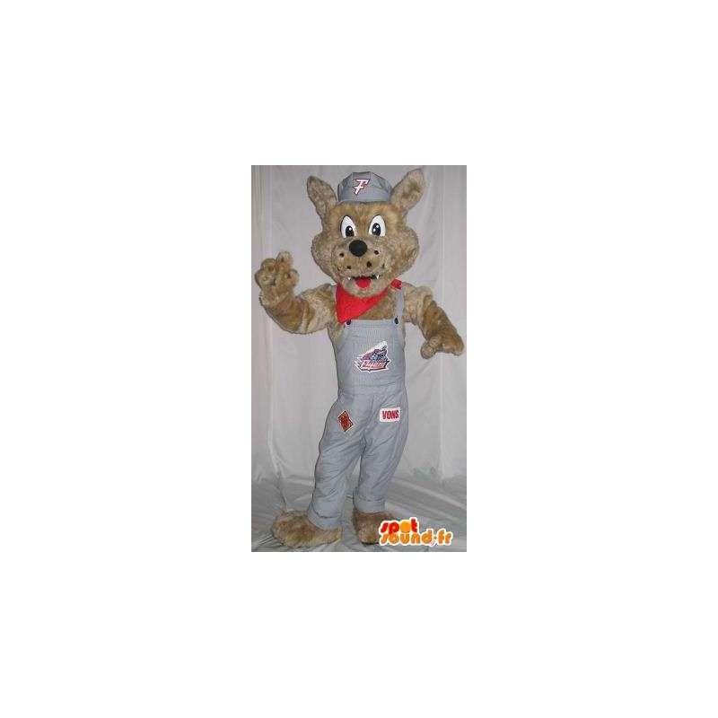 Fox Mascot med grå kjeledress - alle størrelser - MASFR001501 - Fox Maskoter