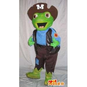 Grønn padde maskot kledd som en pirat - Alle størrelser
