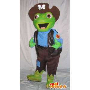 Green toad mascot dressed as a pirate - Any size