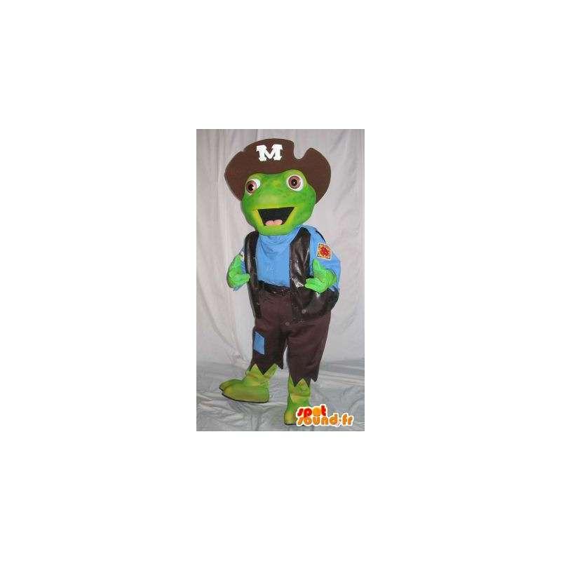 Πράσινη μασκότ βάτραχος ντυμένο ως πειρατής - Οποιοδήποτε μέγεθος - MASFR001503 - μασκότ Πειρατές