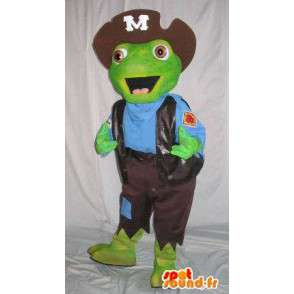 Green toad mascot dressed as a pirate - Any size - MASFR001503 - Mascottes de Pirate