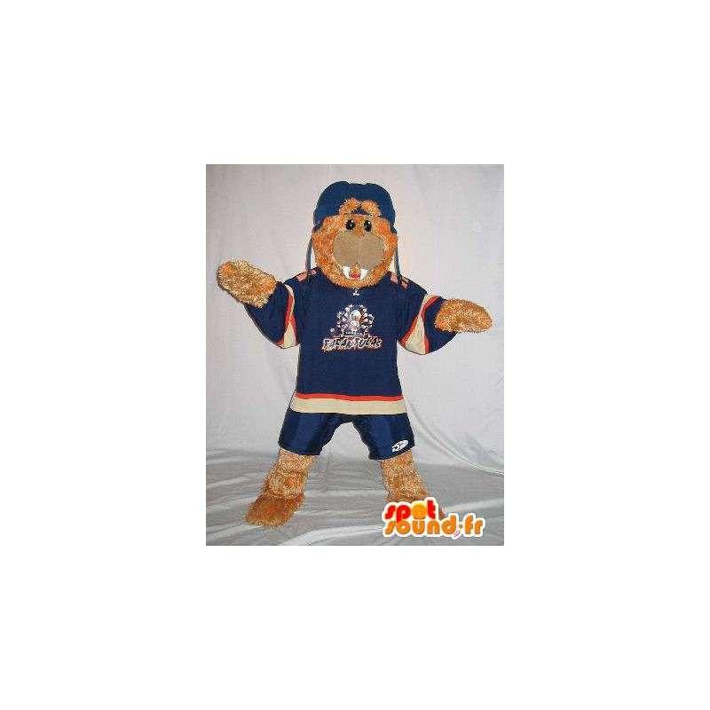 Mascotte phoque en tenue de sport bleu de nuit - MASFR001504 - Mascottes Phoque