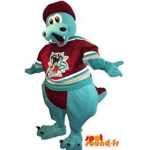 Dragon Mascot blauw fluweel - Elk formaat - MASFR001506 - Bear Mascot