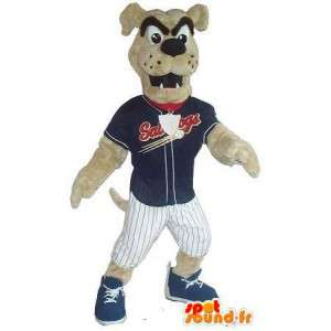 Mascotte de chien supporter de club de baseball