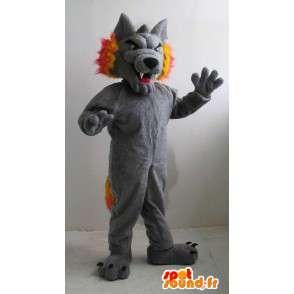 Grauer Wolf Maskottchen und orange Sport unterstützen - MASFR001515 - Maskottchen-Wolf