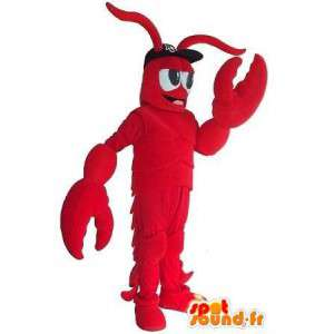 Mascotte de homard rouge avec ses accessoires toute taille
