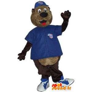 Van de bruine beer mascotte met blauwe nodig om te steunen