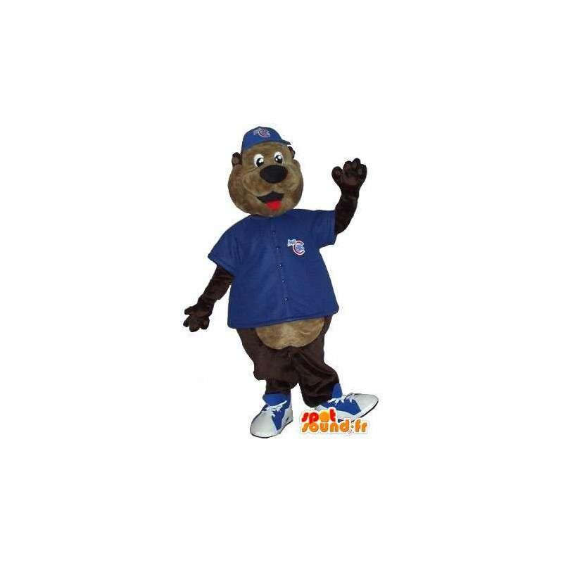 Mascot Braunbär mit blauem die zur Unterstützung - MASFR001519 - Bär Maskottchen