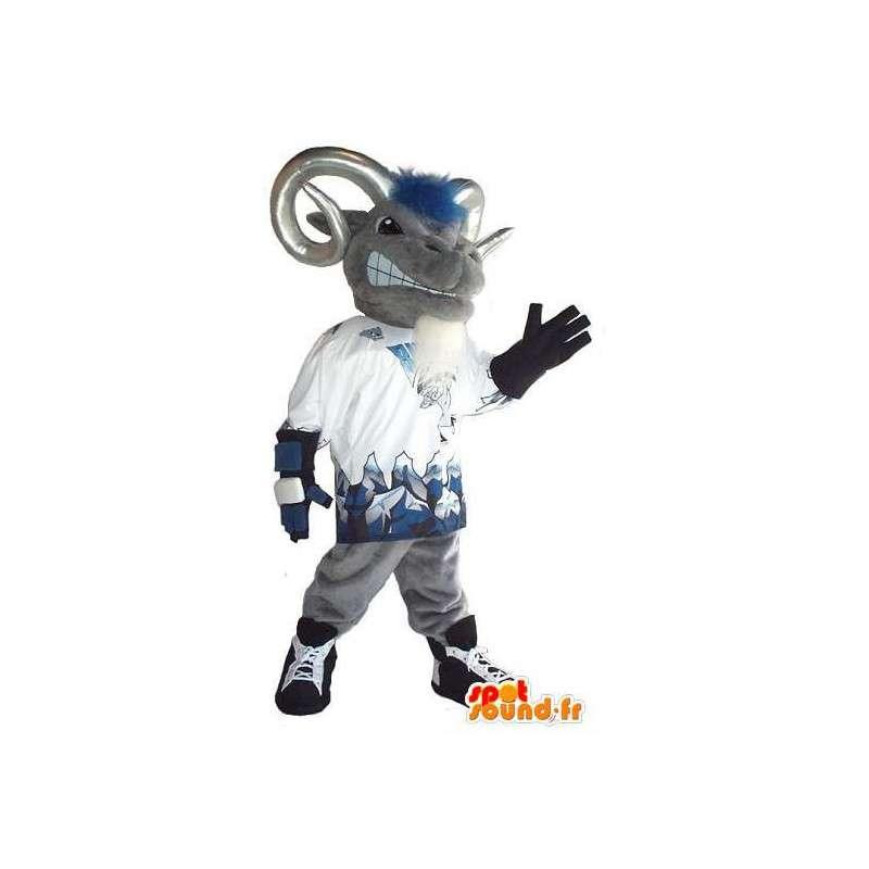 Mascotte de bélier gris avec cornes pour supporters - MASFR001520 - Mascotte de Taureau