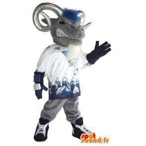 Mascot grauen Widder mit den Hörnern an die Fans - MASFR001520 - Bull-Maskottchen