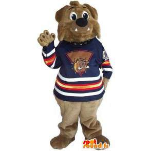 Brown bear mascot to support all sizes - MASFR001521 - Bear mascot