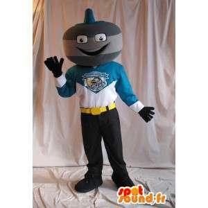 Curling mascote do boneco robô urso - MASFR001522 - Mascotes homem