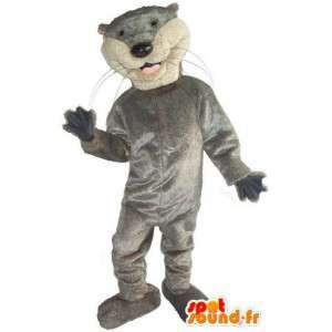 Mascotte de chat gris simplement basique et sportif