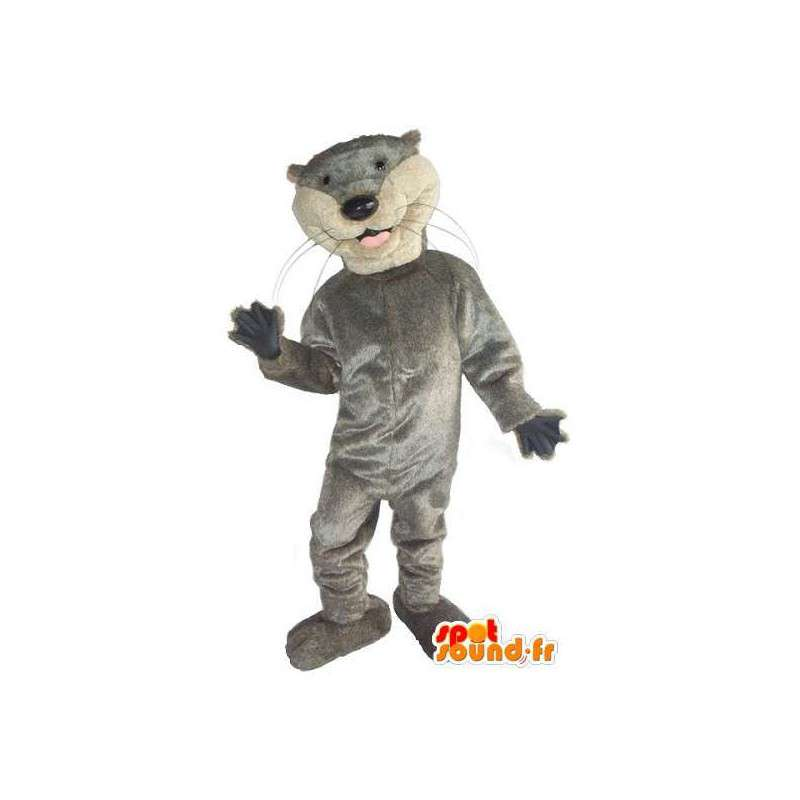 Mascot graue Katze nur grundlegende und Sport - MASFR001523 - Katze-Maskottchen