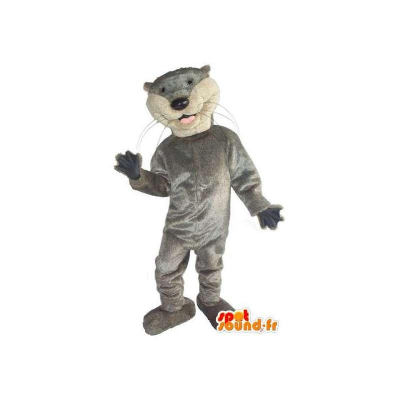 Mascotte de chat gris simplement basique et sportif - MASFR001523 - Mascottes de chat
