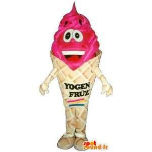 Isfisk maskot med rød frugt - Kvalitetsdragt - Spotsound maskot