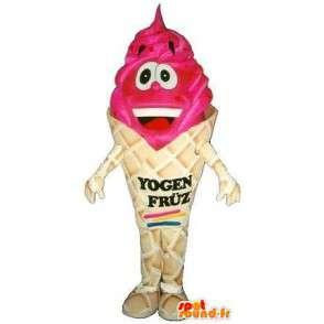 Mascot kegel ijs rood fruit - kwaliteit Disguise - MASFR001528 - Fast Food Mascottes