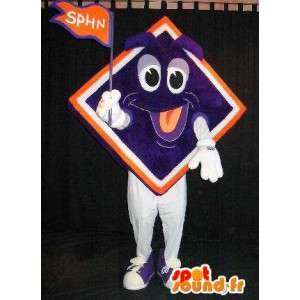 Mascote colorido com uma cabeça de diamantes sorrindo - MASFR001531 - Mascotes não classificados