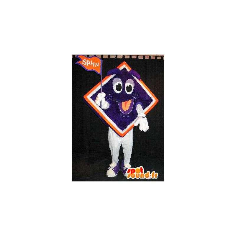 Mascotte colorée avec une tête de losange souriante - MASFR001531 - Mascottes non-classées