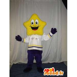 Karakter kostume med et gult stjernehoved - Spotsound maskot