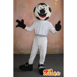 サッカーボールヘッドを備えたスポーツのマスコット