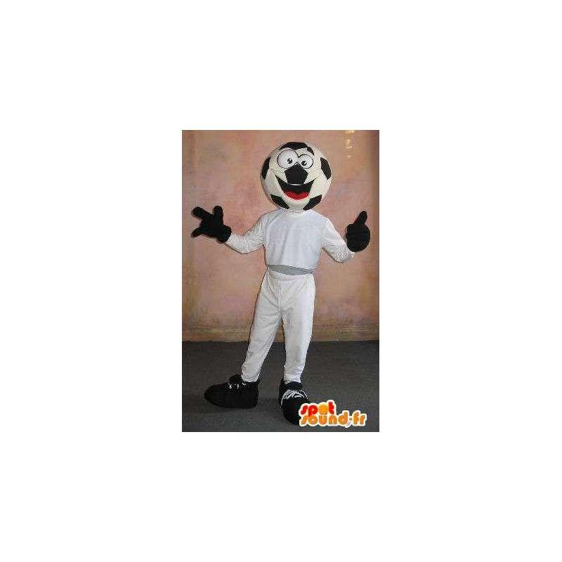 Idrottsman maskot med en fotboll boll huvud - Spotsound maskot