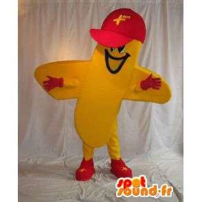 黄色の十字型キャラクターの衣装 - MASFR001549 - 非機密扱いのマスコット