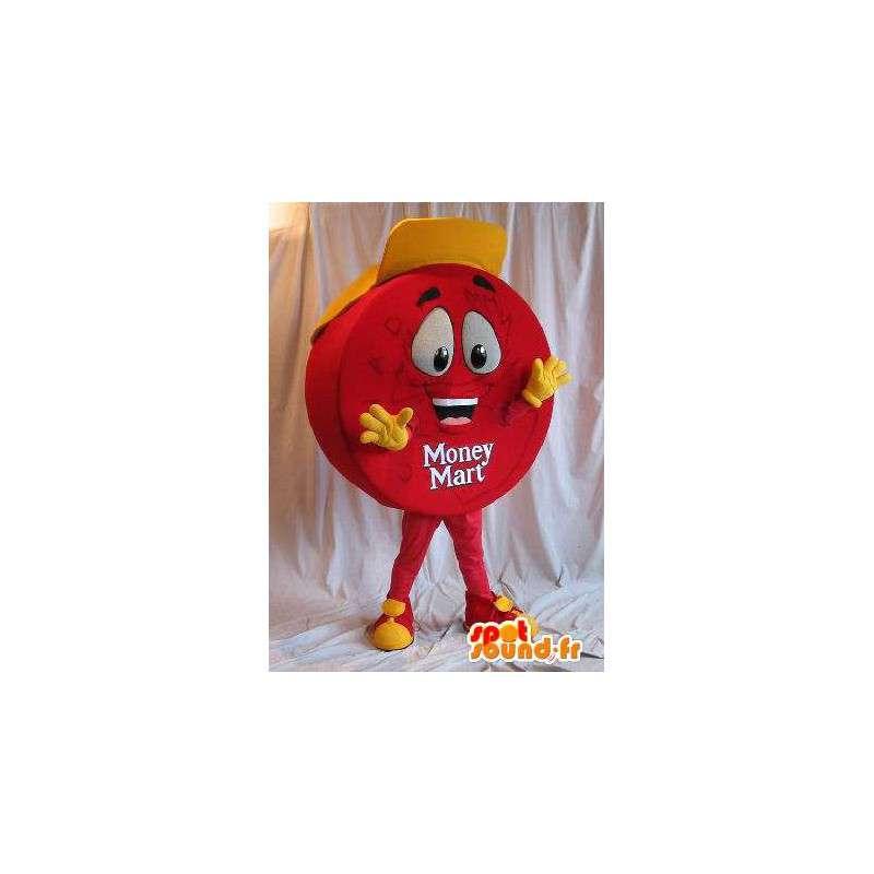 Mascotte de pastille rouge et casquette jaune - MASFR001557 - Mascottes Fast-Food