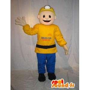 Mascotte de mineur de couleur jaune et bleu