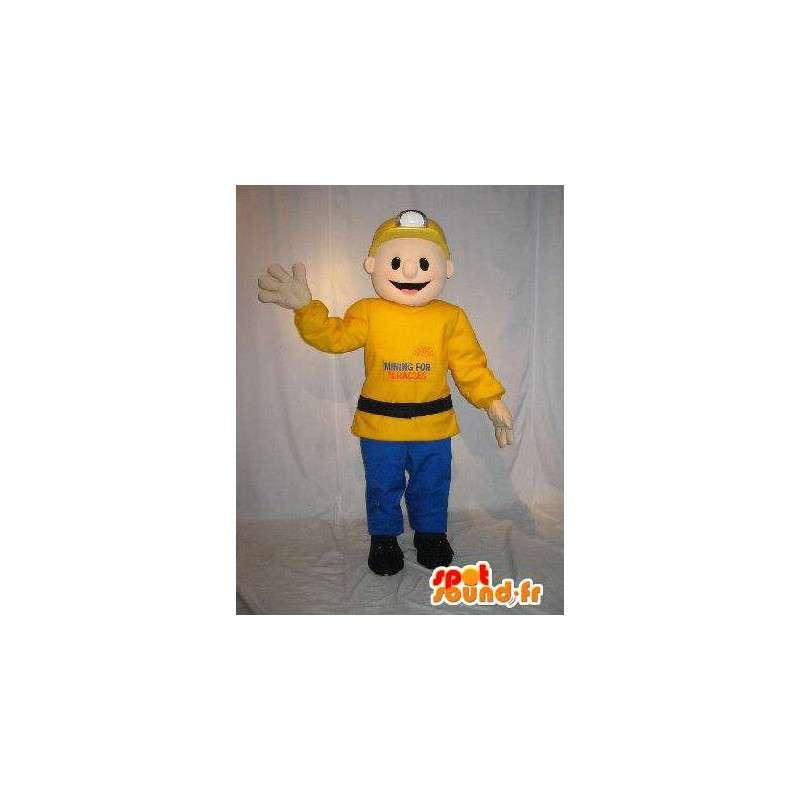 Mascotte de mineur de couleur jaune et bleu - MASFR001573 - Mascottes Homme