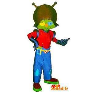 Mascotte de martien branché, costume bleu et rouge