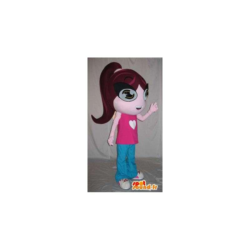 Costume ragazza studiosa vestita di rosa e blu - MASFR001577 - Ragazze e ragazzi di mascotte