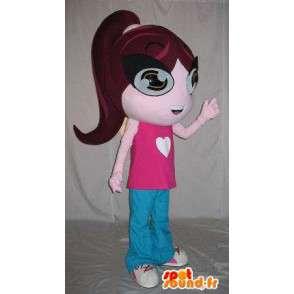 Costume leergierig meisje in roze en blauwe uitrusting - MASFR001577 - Mascottes Boys and Girls