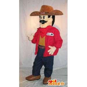 Cowboy mascotte dei tempi moderni, baffuto - MASFR001579 - Umani mascotte