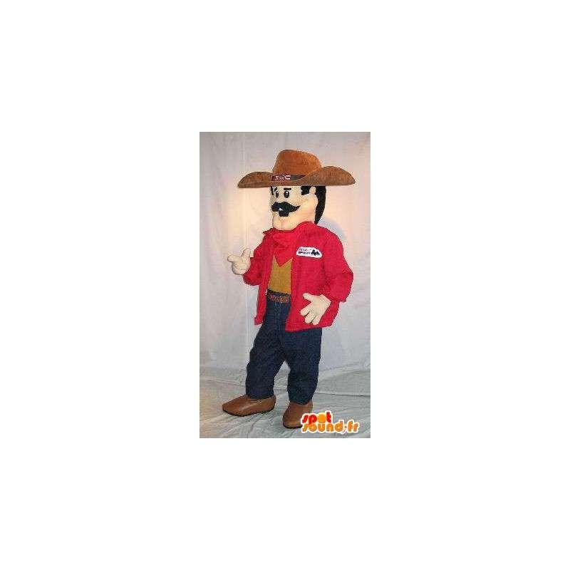 Kowboj maskotka z czasów współczesnych, wąsaty - MASFR001579 - Mężczyzna Maskotki