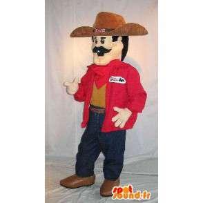 Cowboy-Maskottchen der Neuzeit schnauzbärtige - MASFR001579 - Menschliche Maskottchen